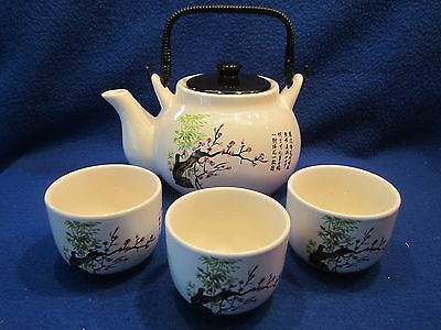 Tea Pot + 3 Cups + Lid Taiwan Chinese Asian Ceramic Pottery Painted Tree Scenery