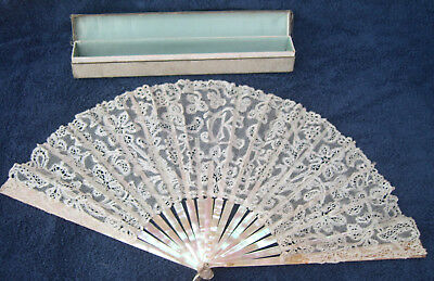Antique lace mother of pearl fan original box