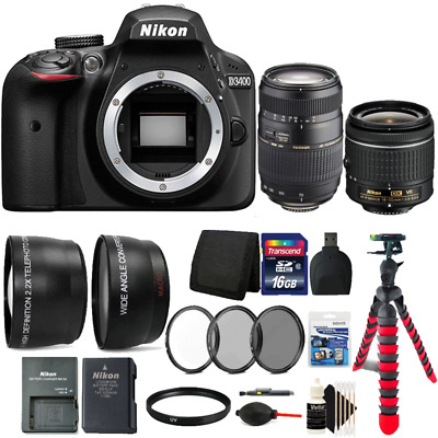 Nikon D3400 24MP DSLR Camera w/ 18-55mm Lens, 70-300mm Lens and Accessory Bundle