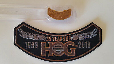 2018 35 Years of HOG Harley Hog Pin and Patch Set Brand New