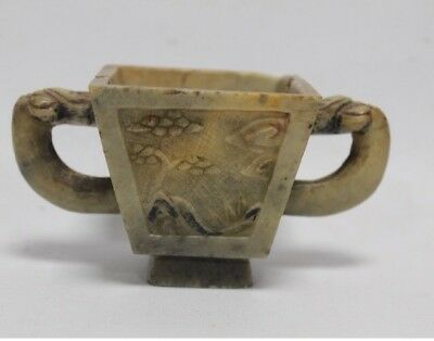 Oriental / Chinese Twin Handled Soapstone Cup