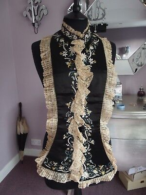 antique silk hand embroidery lace trim dress front waistcoat Georgian Victorian