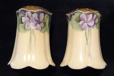 PAIR C. 1900-20 BAVARIA China Salt, Pepper SHAKERS, Hand-painted VIOLETS, Signed