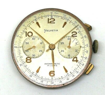 Vintage Chrono HELVETIA Landeron 51 - Manual Wind Movement for Parts or Repair