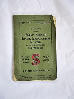 VINTAGE Featherweight 221k SINGER SEWING MACHINE instructions