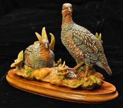 Collectibles Anri Quails Wood Sculpture, Limited Edition Hand Carved