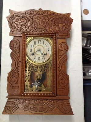 Vintage Antique Day Time and Strike Mantle Wall Clock With Key Works ORNATE WOOD