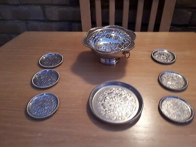 Silver Plate - Rose Bowl  Coaster Set