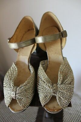 Antique 1920S Silver Mesh Dancing Shoes...small...worn