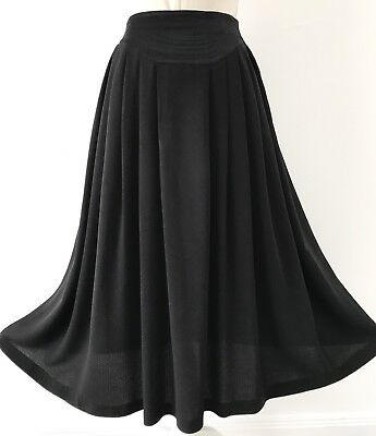 Vintage 1980s Black Curved Waist Panel Full Skirt S