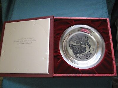Franklin Mint Solid Sterling Norman Rockwell Plate TRIMMING THE TREE 162 g