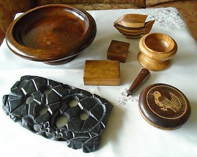 Job Lot of 8 Antique Vintage Carved Wood Treen Boxes Tazza Stand Cup Fish