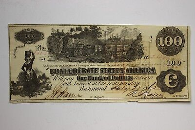 1862 Confederate States Of America $100 One Hundred Dollars T-39 Serial# 26226