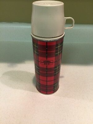 "Vintage 1973 King Seeley Thermos Bottle No. 2242 Red Plaid 10"" Tall"