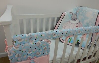 Bunny Love Nursery Cot Quilt Set 3 Piece Handmade - Perfect Baby Gift!