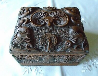 Antique Indian Chinese Carved Wood Cigarette Box With Raised Ram Dragon Peacock