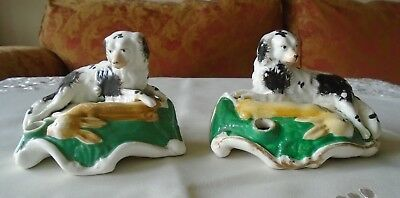 Pair Antique Victorian Staffordshire Spaniels With Hare Quill Pen Holders