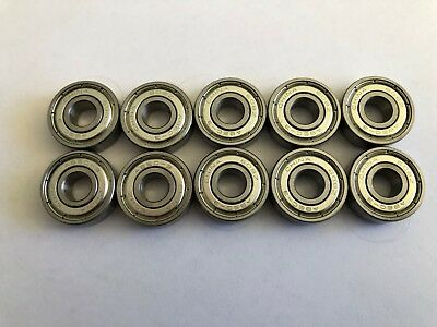 10 pcs 608 ZZ metal shielded ball bearing, 8x 22x 7 mm
