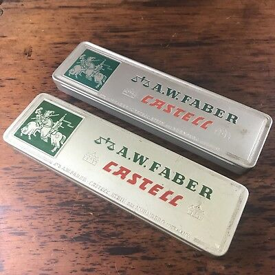 2x TINS OF VINTAGE A.W. FABER CASTELL GREY LEAD PENCILS 9000 5H GERMANY