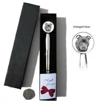 Staffordshire Bull Terrier Dog Chrome Plated Letter Opener Boxed with Gift Tag