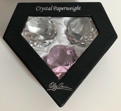 Oleg Cassini Crystal Diamond Cut Small Paperweights - Set of Three Clear & Pink