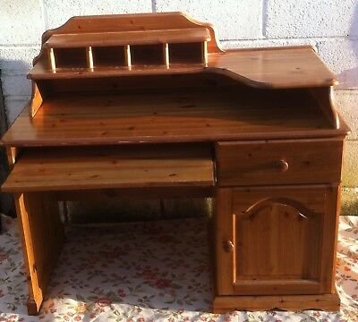 Vintage Pine Desk Study Writing Drawing Table Pc Laptop Home Retro
