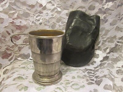 Antique Collapsible Silver Metal Travel Cup With Black Pouch, 1890's
