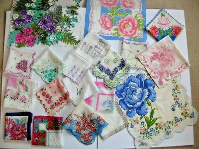 lot of 19 vintage handkerchiefs floral hankies for craft use