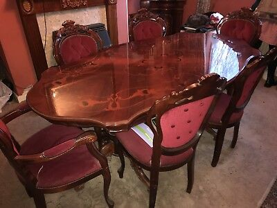 Used dining room table and 6 chairs, mahogany.