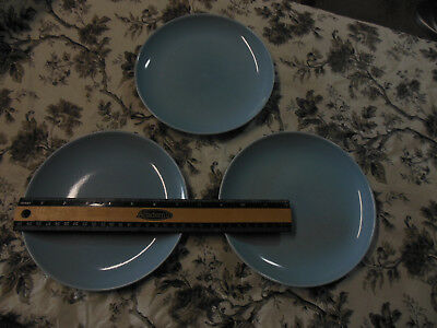 "3 Russel Wright Iroquois Casual 7.25"" Salad Plates Ice Blue Nice! Small Mark"