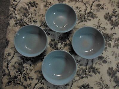 "4 Russel Wright Iroquois Casual 5.25 x 2"" Bowls  Ice Blue Nice! Large Mark"