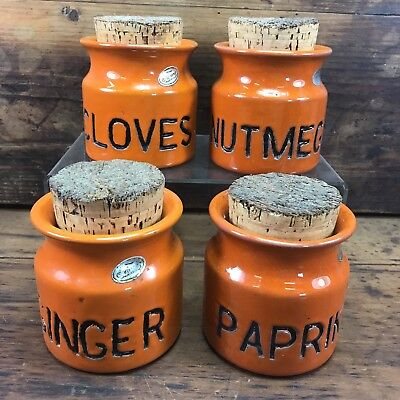 Vintage Set Of 4 Orange Retro Florenz Pottery Spice Canisters Signed Australian