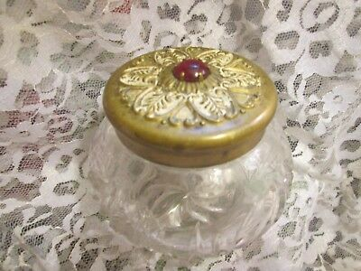Antique Victorian Glass Container with Gold Lid & Jewel, 1899