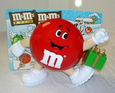 M&M's Red with Christmas Present Candy Dispenser on Original Euro Display Card