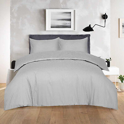 Luxury T-300 Hotel Quality Egyptian Cotton Satin Stripe Duvet Cover Set Grey