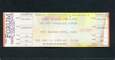 1979 Allman Brothers unused concert ticket Los Angeles Forum Enlightened Rogues