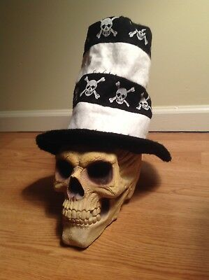Striped Skull & Cross Bones Hat Pirate Halloween Devil Head Cap Tall Decoration