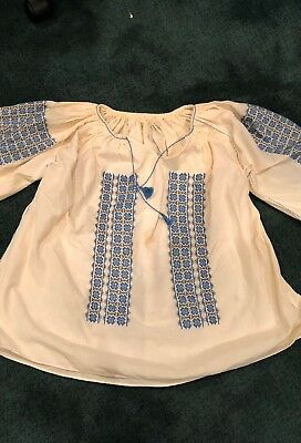 Vintage Romanian embroidered long-sleeved blue and white peasant blouse, as is