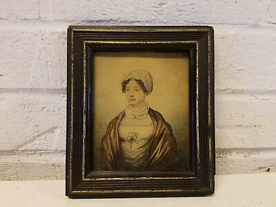 Antique Early 19th Century Watercolor Portrait of Lady in White Bonnet