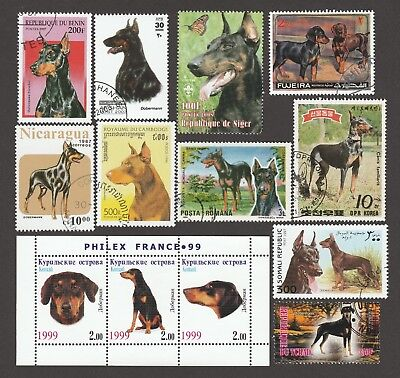 DOBERMAN PINSCHER ** International Dog Postage Stamp Collection ** Unique Gift*