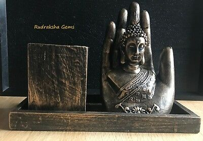 Thai Buddha Hand Bronze Effect Pen Stand Home Decoration Resin Showpiece Decor