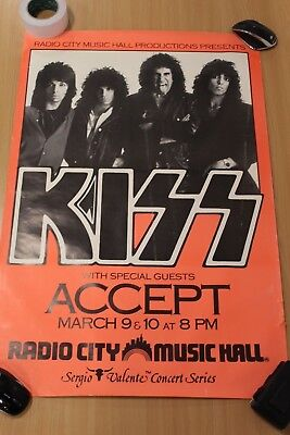 Kiss Poster,  Kiss + Accept, Radio City Music Hall.
