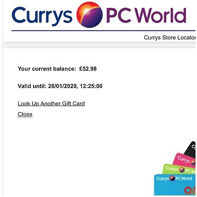 Currys PC World Gift Card Voucher £52.98 Vaild For Two Years