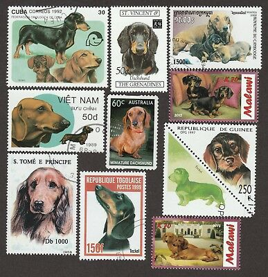 DACHSHUND ** Int'l Dog Postage Stamp Collection **Unique Gift Idea**