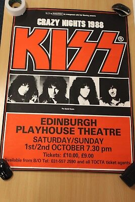 Kiss Poster,  Kiss, Crazy Nights 1988, Edinburgh Playhouse, Scotland.