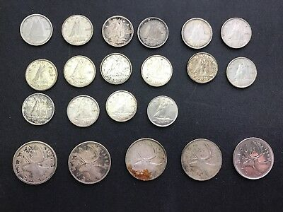 Canadian Silver Coins-Mixed Lot of 5 Quarters & 16 Dimes. L119
