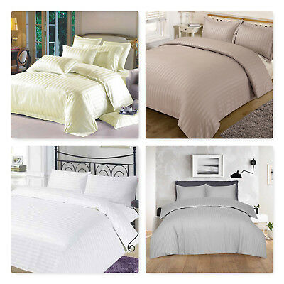 Luxury T-300 Hotel Quality Egyptian Cotton Satin Stripe Duvet Cover Set