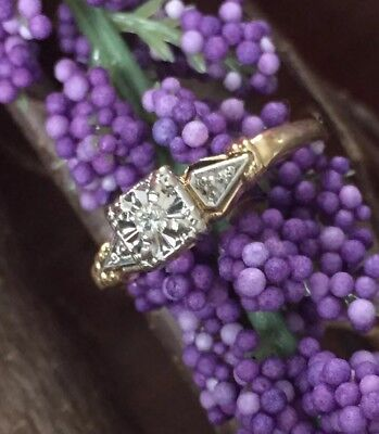 14k White Yellow Gold Engagement Promise Ring Diamond Antique Art Deco Sz. 6.5