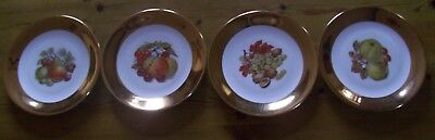 4 Vintage Plates With Pictures Of Fruit On And Gold Rim 7Inch