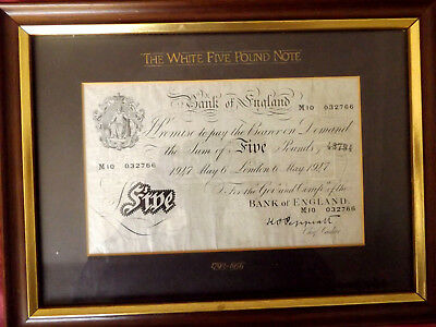1947 Peppiatt White Five Pounds 6Th May M10 032766 Framed And Under Glass